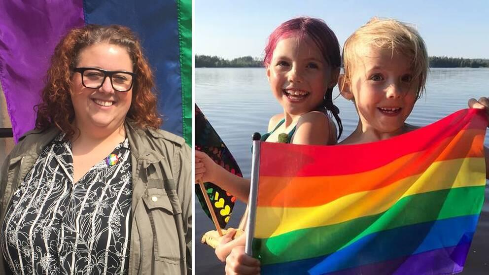 Sofia Belin står framför en prideflagga. Tvillingarna Bob håller upp en prideflagga och ser glada ut.
