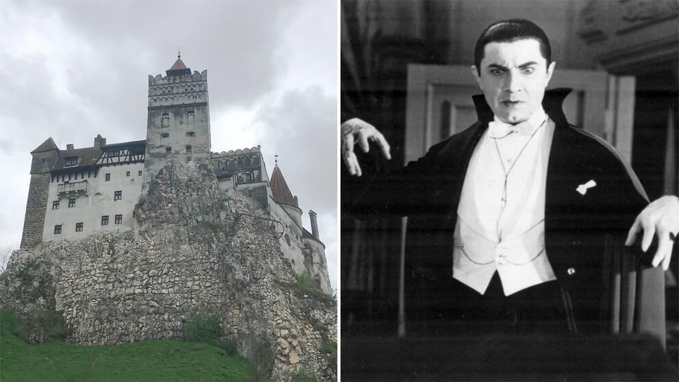 """Till vänster i bild: slottet Bran i Transsylvanien som marknadsförs som """"Draculas slott"""". Till höger i bild syns skådespelaren Bela Lugosi porträttera Dracula i filmklassikern från 1931."""