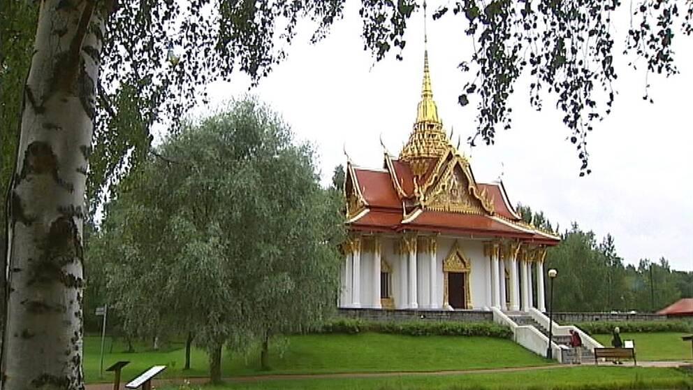 Bild på den thailändska paviljongen i Utanede med en björk i förgrunden