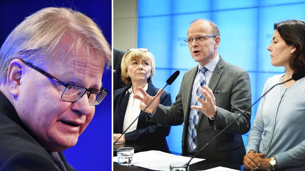 Peter Hultqvist (S) och Socialdemokraterna bär ansvaret för att Försvasberedningen nu spricker, menar Beatrice Ask (M), Mikael Oscarsson (KD) och Karin Enström (M).