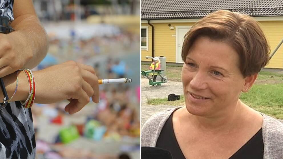 Till vänster en person som håller en cigarett i handen. I bakgrunden syns en strand. Till höger Anneli Hedberg, ordförande i folkhälsoutskottet i Katrineholms kommun.