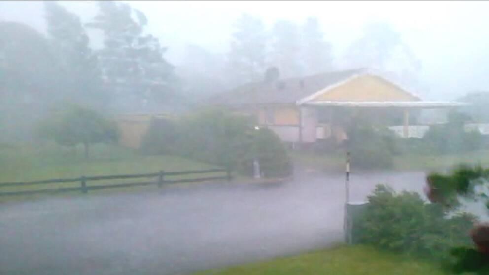 Kraftiga fallvindar i småländska Björköby den 27 juli.