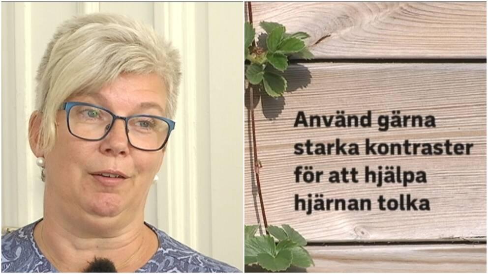 """Porträttbild på Kerstin Angvik och en planeringslåda med texten: """"Använd gärna starka kontraster för att hjälpa hjärnan att tolka."""""""