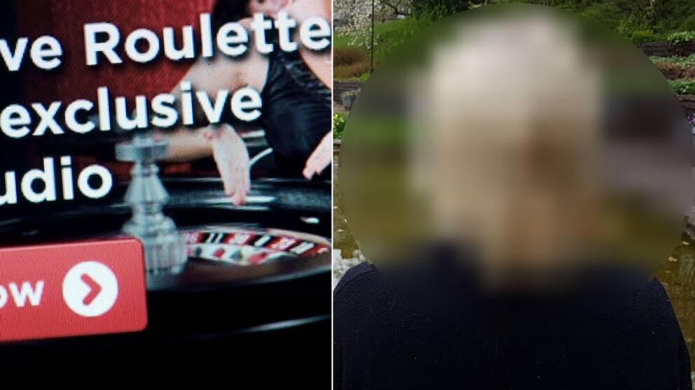 "Skärmdump från spelbolag samt ""Sofia"", anonymiserad"