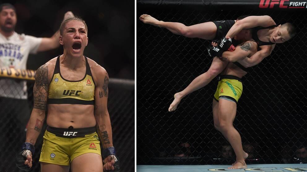 Jessica Andrade skriker ut sin glädje efter att ha vunnit UFC:s mästarbälte.