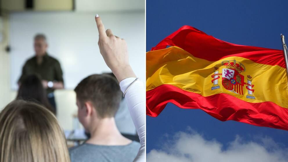 En elev räcker upp handen i ett klassrum bredvid en spanska flagga.