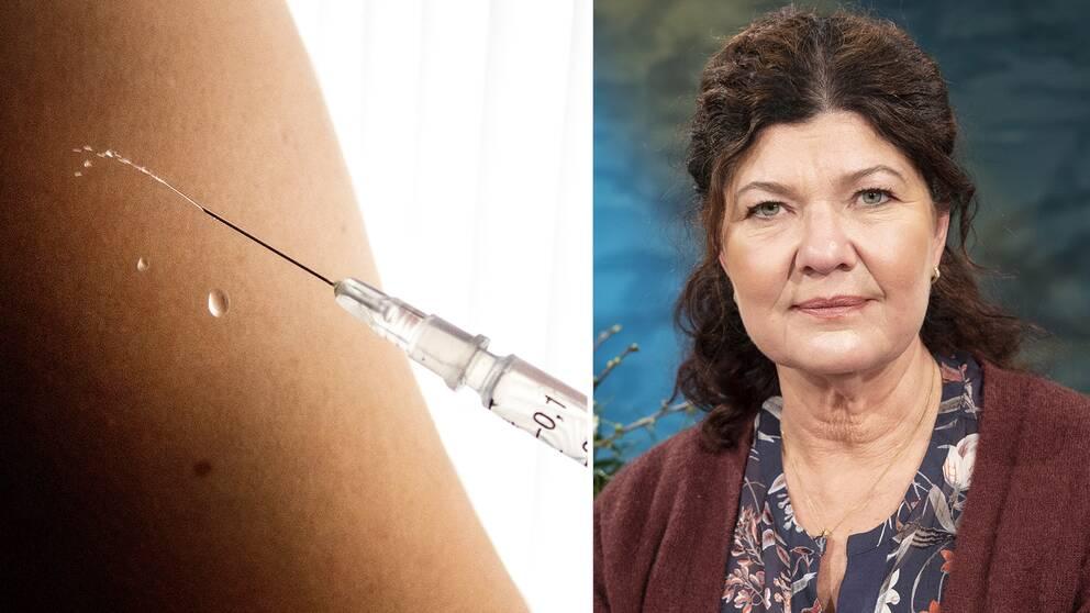 Spruta med vaccin och ett porträtt av Karin Granberg.