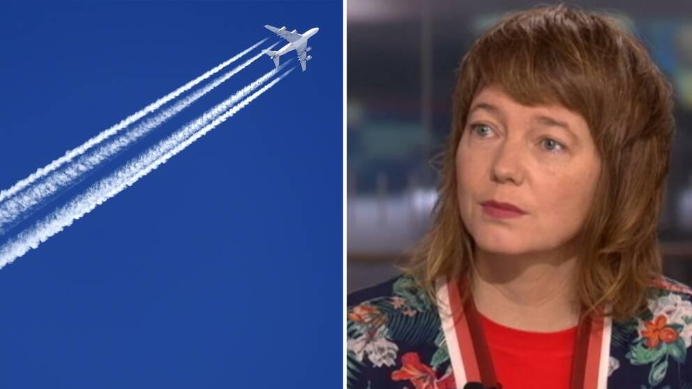 Flygplan på himlen och Malin Björk, EU-parlamentariker för Vänsterpartiet.