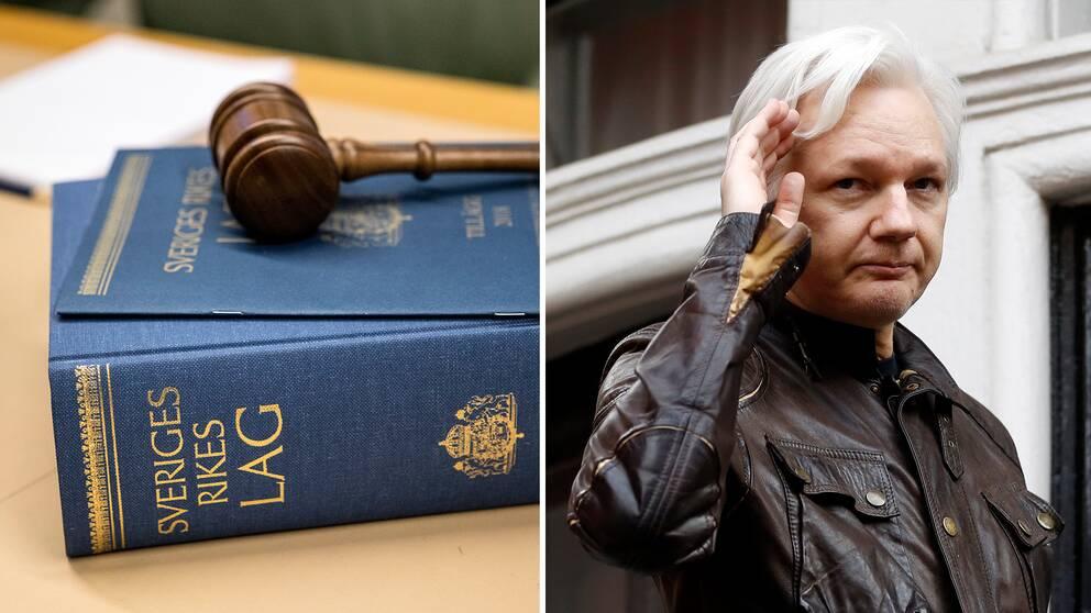 Bild på lagbok och domarklubba och bild på Julisn Assange.