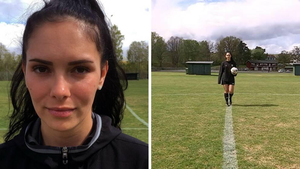 Adela Krakonja är den enda kvinnliga fotbollsdomaren i Jönköping.