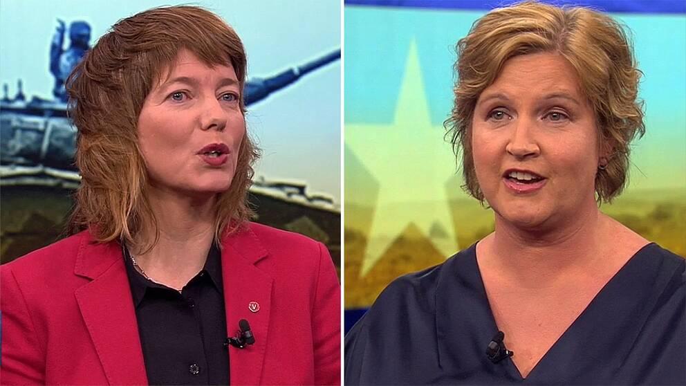 Toppkandidaterna i EU-valet Malin Björk (V) och Karina Karlsbo (L)