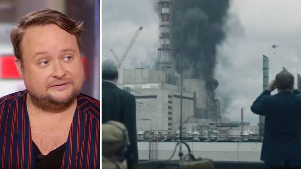 """SVT:s tv-kritiker Linus Fremin och en bild från nya serien """"Chernobyl""""."""