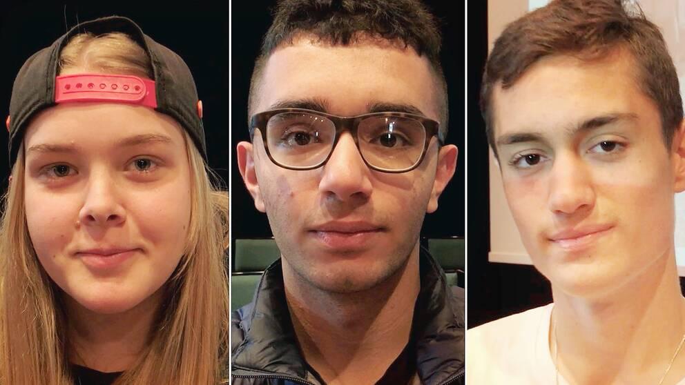 Porträtt på de tre eleverna.