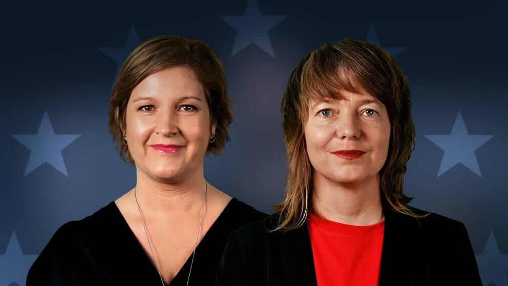 Liberalernas toppkandidat till EU-parlamentsvalet Karin Karlsbro och Vänsterpartiets toppkandidat Malin Björk