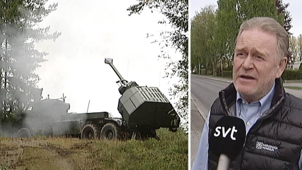 Ett militärt fordon som precis avfyrat en artilleripjäs på Villingsbergs skjutfält i samband med den stora militärövningen Aurora-17. Kommunstyrelsens ordförande Tony Ring (M) synd på infälld bild till höger.