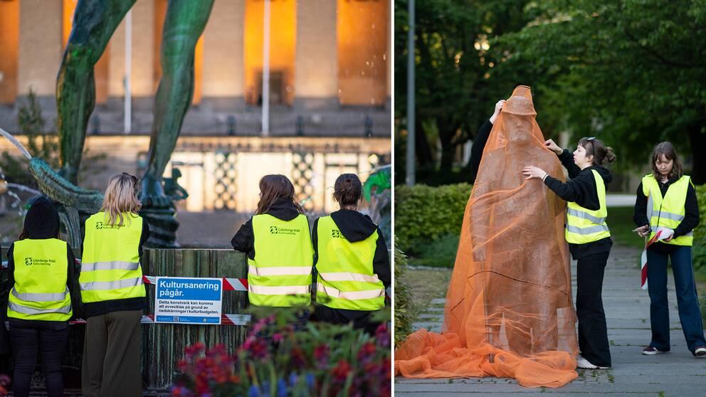 Flera konstverk i centrala Göteborg täcks över med orange väv och avspärrningstejp från konstelever.