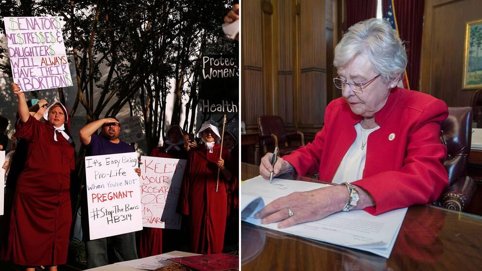 Under omröstningen om totalförbud mot abort hölls demonstrationer utanför Alabamas senat. Under torsdagen undertecknades dock lagen av guvenören Kay Ivey.