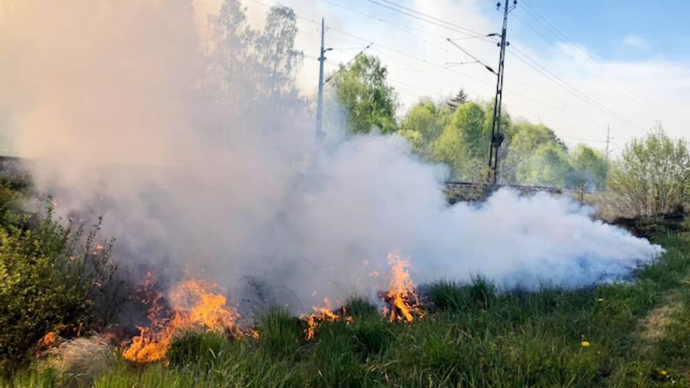 Brand som sprider sig i gräset på en banvall. Grå, tjock rök sprider sig från elden.