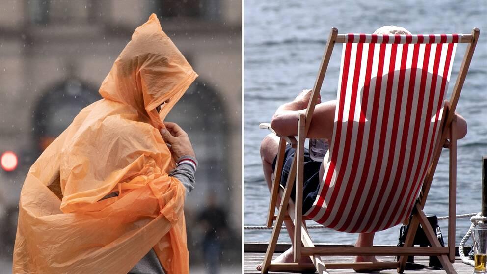En person i regnkapp och en person i solstol.
