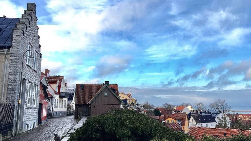 Vy över Visby innerstad på Gotland