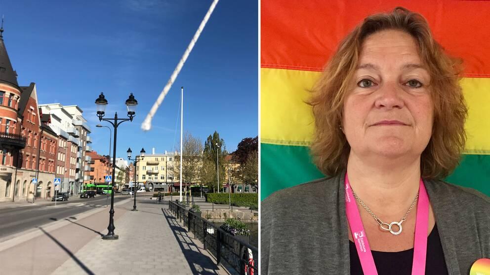 De kapade linorna dinglar i vinden på Rådhusbron efter att pride-flaggorna klippts ner under natten. Samt en bild på Helena Andersson Tsiamanis framför en pride-flagga.