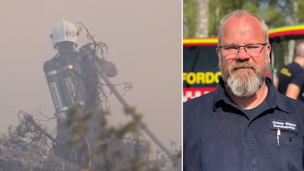 En av rökdykarna i färd med att släcka skogsbranden, samt en bild på Christer Sjögren, brandinspektör.