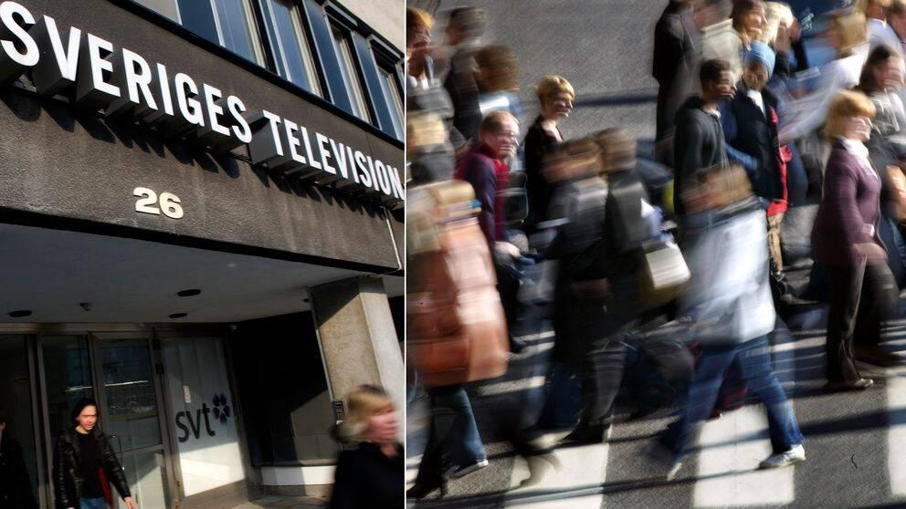 Bild på SVT:s entré och bild på människor som går på övergångsställe