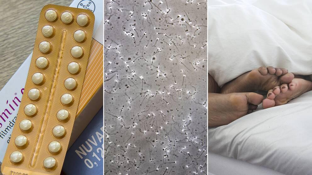 P-piller, spermier och fötter under ett täcke