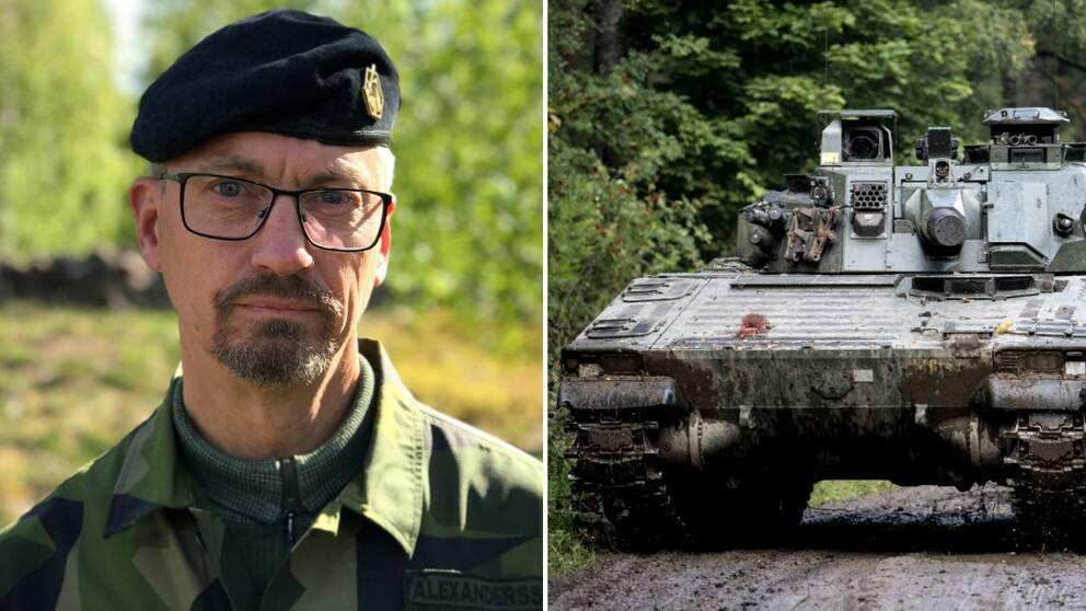 Överste Bengt Alexandersson och en stridsvagn