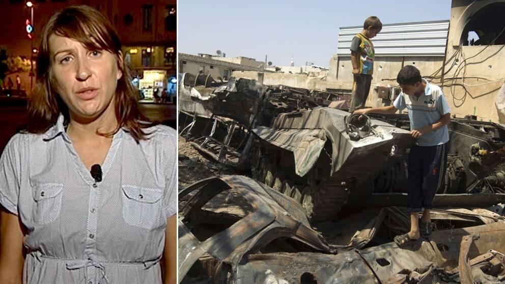 SVT:s utsända Marie Nordstrand vittnar om enorm förödelse och misär i Syrien.