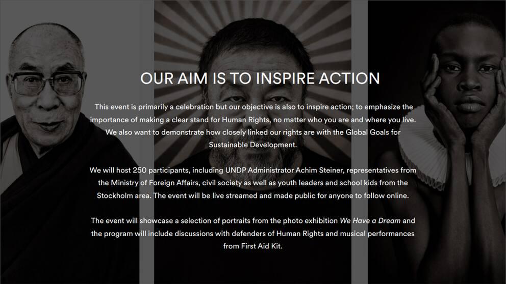 Den här inbjudan från UNDP med bilder av Dalai Lama och Kinakritikern Ai Weiwei skickades till de 250 gästerna, även till Kinas ambassad.