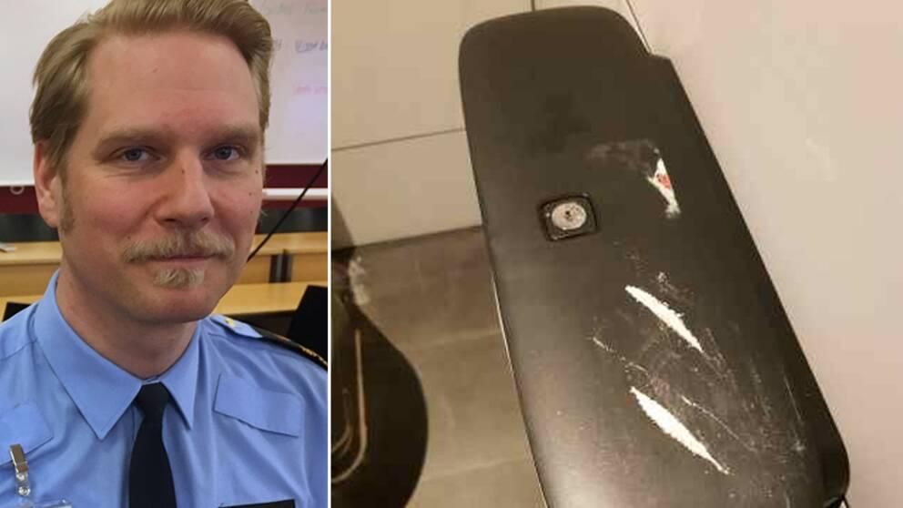 porträtt på en man i polisskjorta, och bild på ovansidan av en appershållare på en toa, där det ligger strängar av pulver