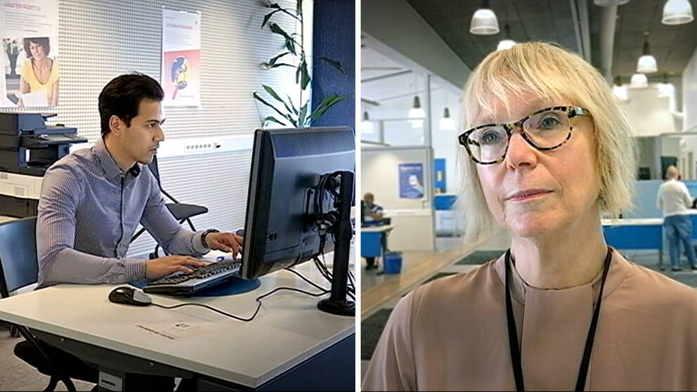 Ung man vid dator, Tina Ersson.