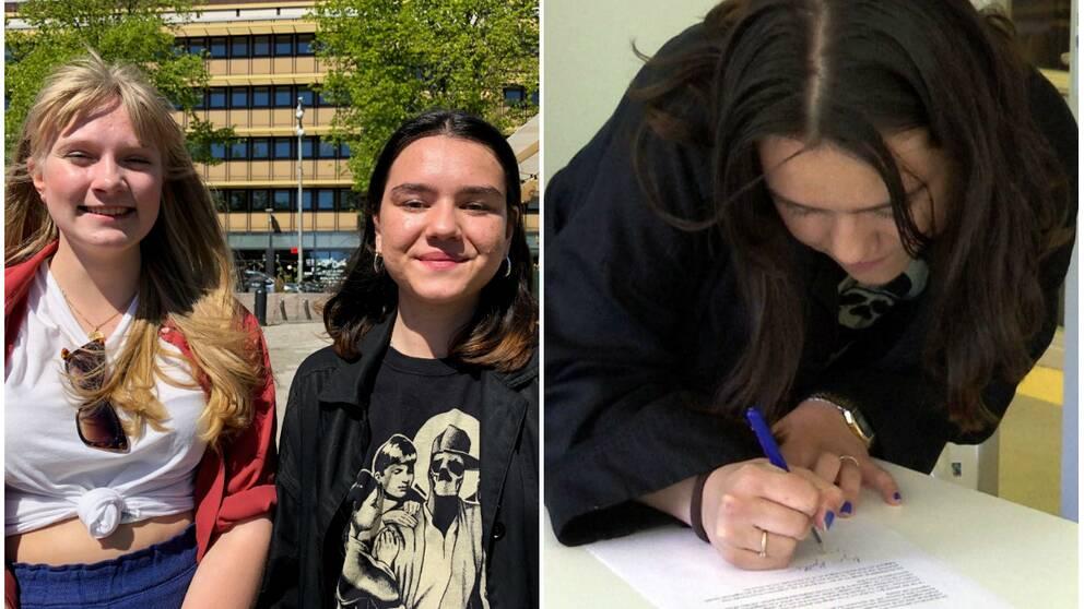 Till vänster två 17-åriga tjejer, till Höger en tjej skriver på kontrakt