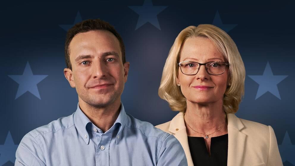 Moderaternas toppkandidat till EU-parlamentsvalet Tomas Tobé och Socialdemokraternas toppkandidat Heléne Fritzon frågas ut av programledarna Anders Holmberg och Camilla Kvartoft.