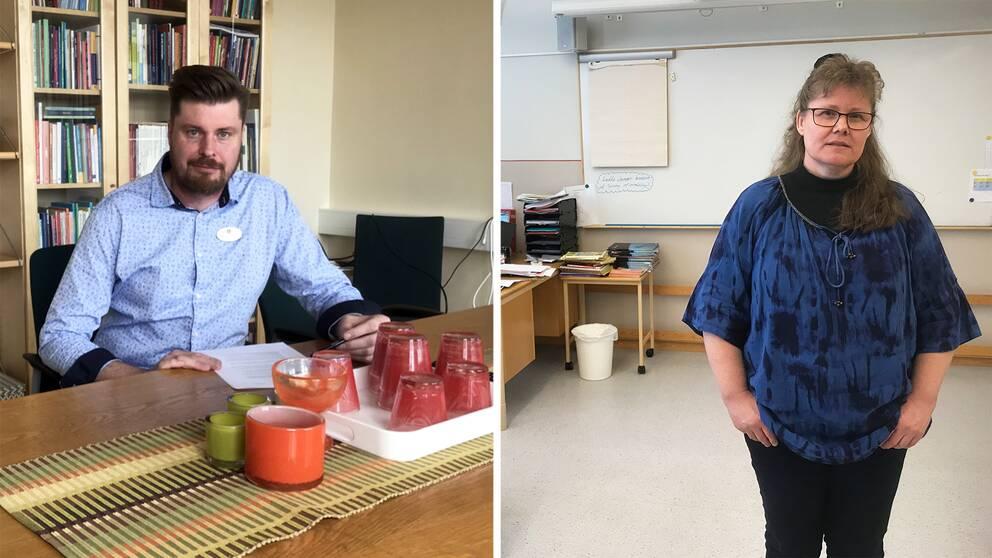 Bilden är ett collage. På vänster bildhalva sitter rektor Marcus Persson till bords. På vänster bildhalva står lokala skyddsombudet Jeanette Östberg i ett klassrum.