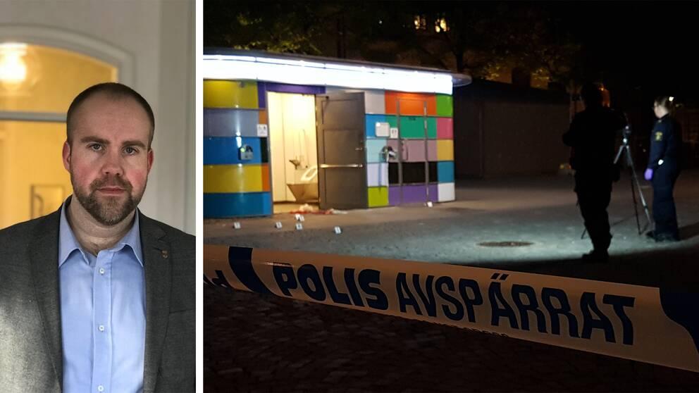 Delad bild. John Johansson (S) i blå skjorta och grå kavaj till vänster, och en bild på toaletten på Järntorget från söndagskvällen när polisen gör sin tekniska undersökning efter den misstänkta misshandeln.