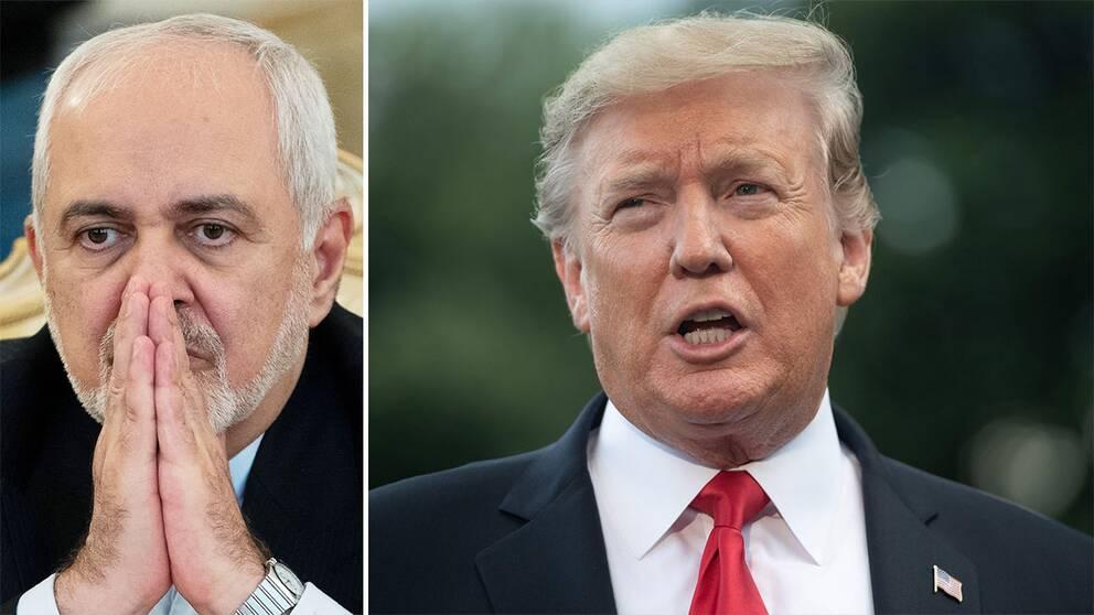 Irans utrikesminister Javad Zarif och USA:s president Donald Trump