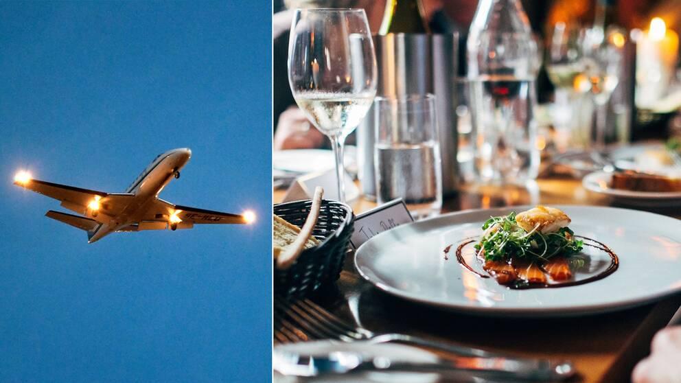 flygplan flyger och en lyxigare mattallrik (två bilder i en)