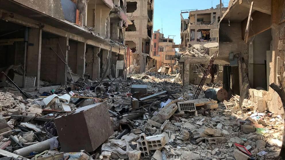 Platsen för en tidigare misstänkt kemvapenattack i närheten av Damaskus.