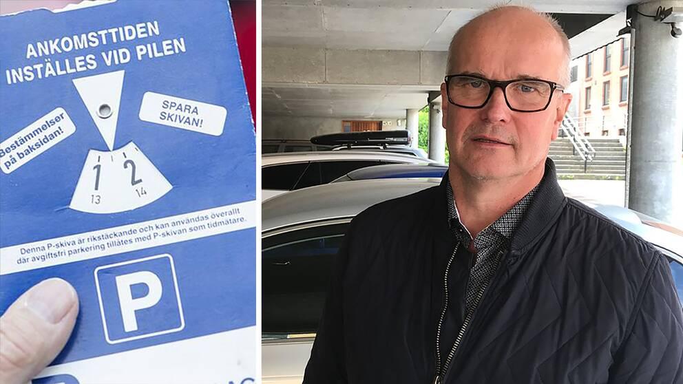 Claes Bertil Claesson är en av Centerpartiets ledamöter i kultur-, fritid- och tekniknämnden i Falkenbergs kommun. P-skiva.