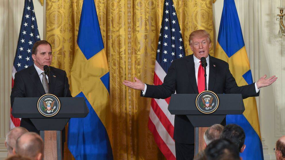 Statsminister Stefan Löfven (S) och USA:s president Donald Trump i samband med deras möte i Vita huset i Washington i mars 2018. De betonade vikten av transatlantiska länken.