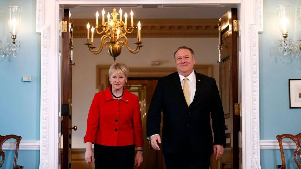 Utrikesminister Margot Wallström (S) mötte USA:s utrikesminister Mike Pompeo i Washington den 29 april 2019.