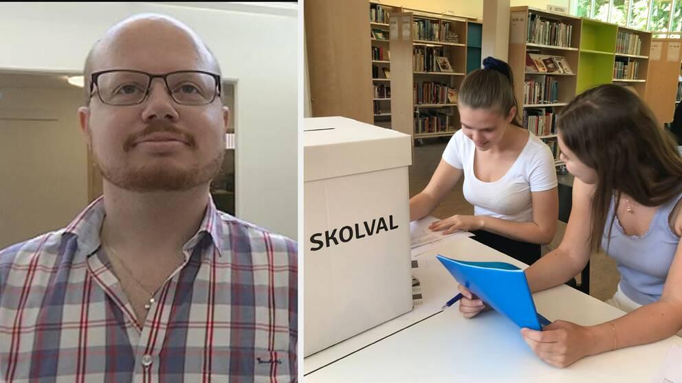 Andreas Rubenson gymnasielärare på Katedralskolan i Växjö. Elever som jobbar med EU-skolvalet.