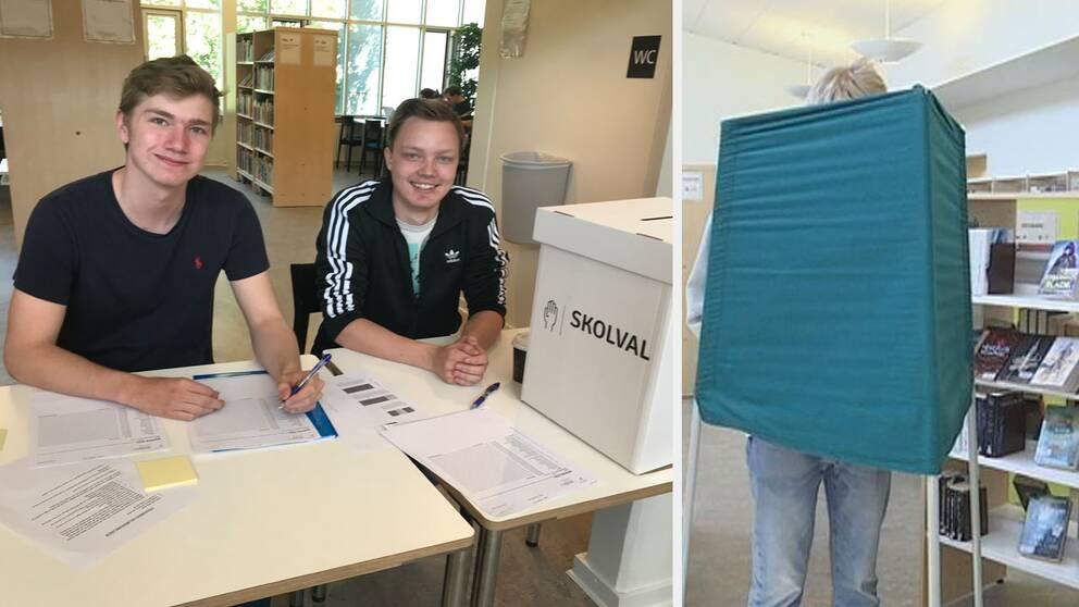 Eleverna Felix Widroth och Jonathan Schill på Katedralskolan i Växjö jobbar med EU-skolvalet.
