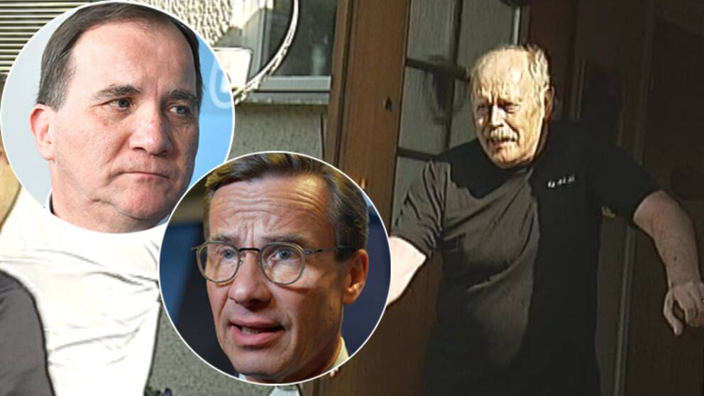 Stefan Löfven (S) och Ulf Kristersson (M) samt en bild på Kjell Vestholm som öppnar dörren till sitt hem.