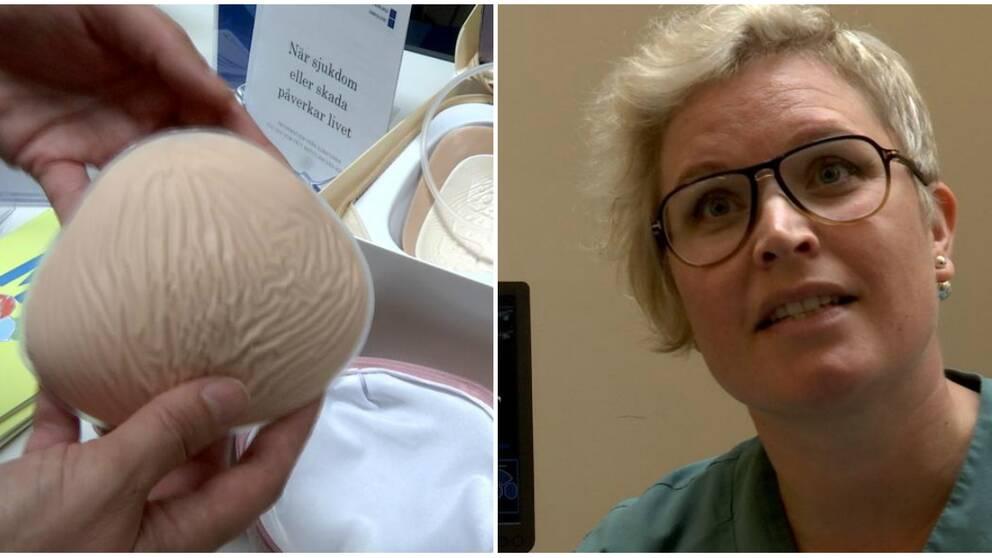 Bild på bröstprotes till höger och en kvinnlig läkare till vänster