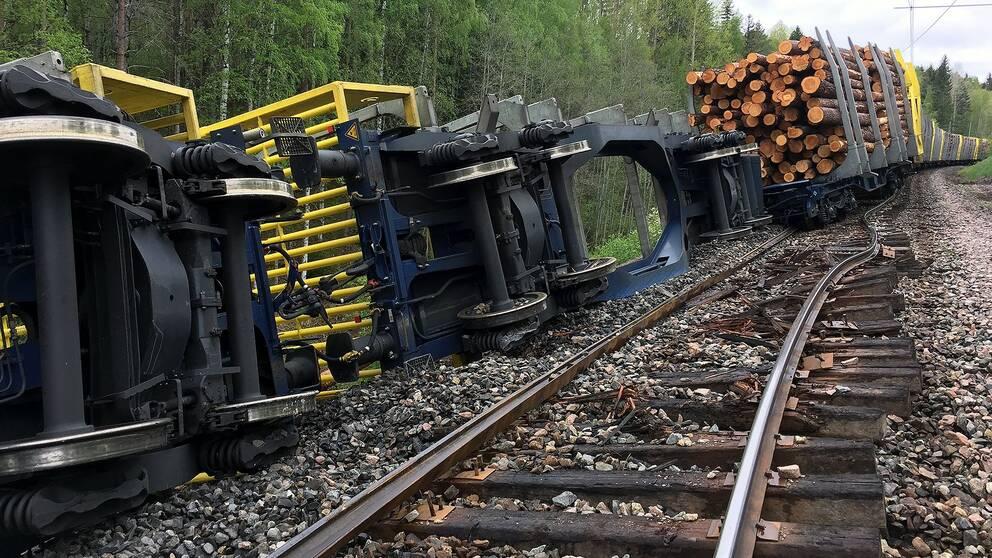 Godståg urspårat mellan Sollefteå och Långsele.