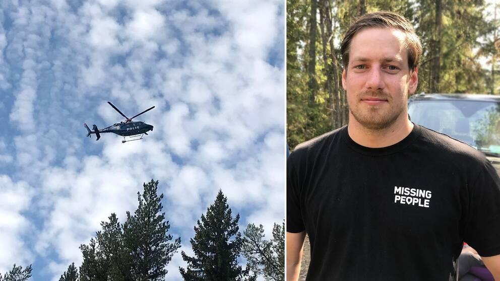 En polishelikopter flyger över grantopparna. Daniel Viklund från Missing People.