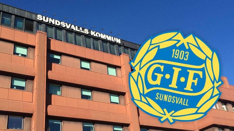 Sundsvalls kommunhus och en gif sundsvalls logga.